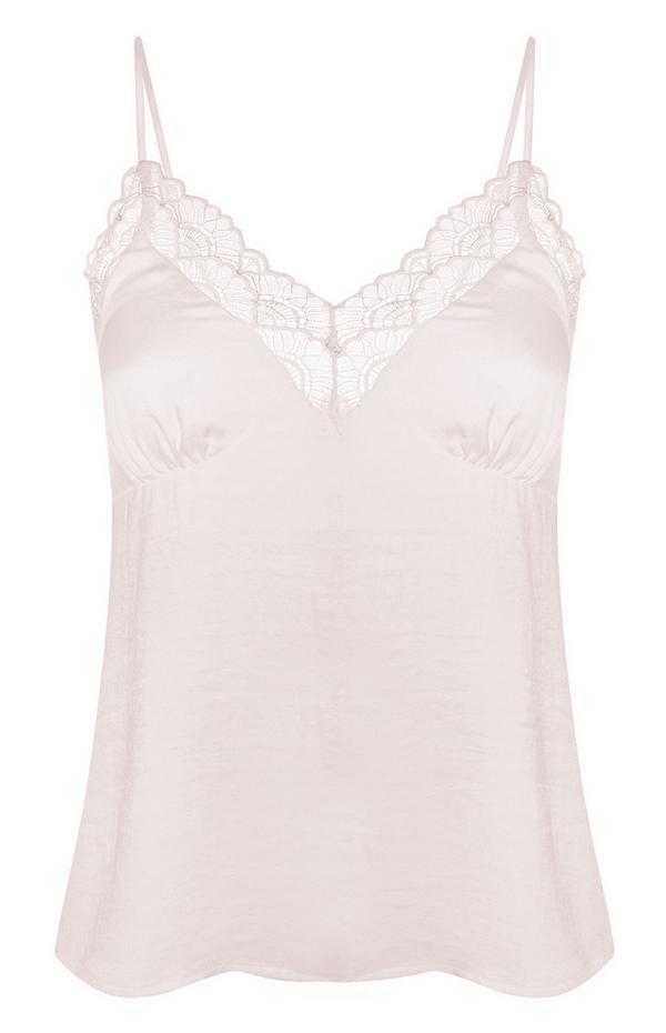 Camiseta de tirantes lisa de raso en color rosa