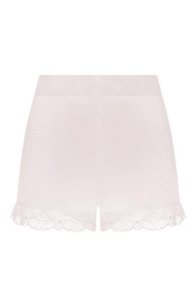 Shorts rosa in raso con volant