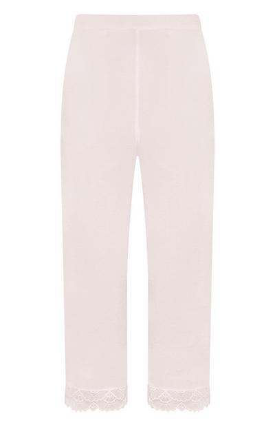 Pink Satin Lace Trim Trousers