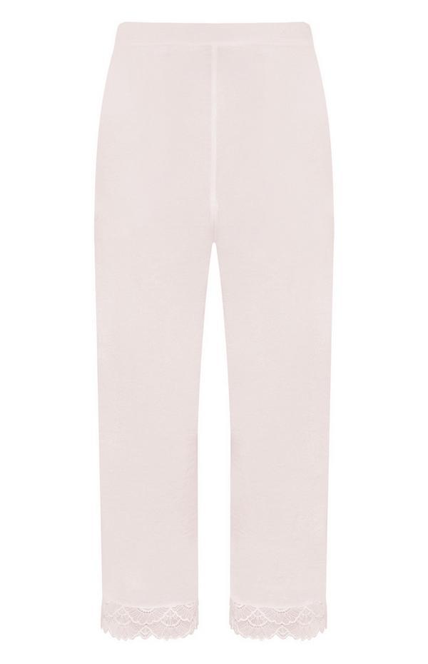 Pantalón de satén con ribete de encaje en color rosa