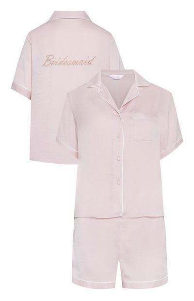 Pyjama mariage avec short rose en satin brodé