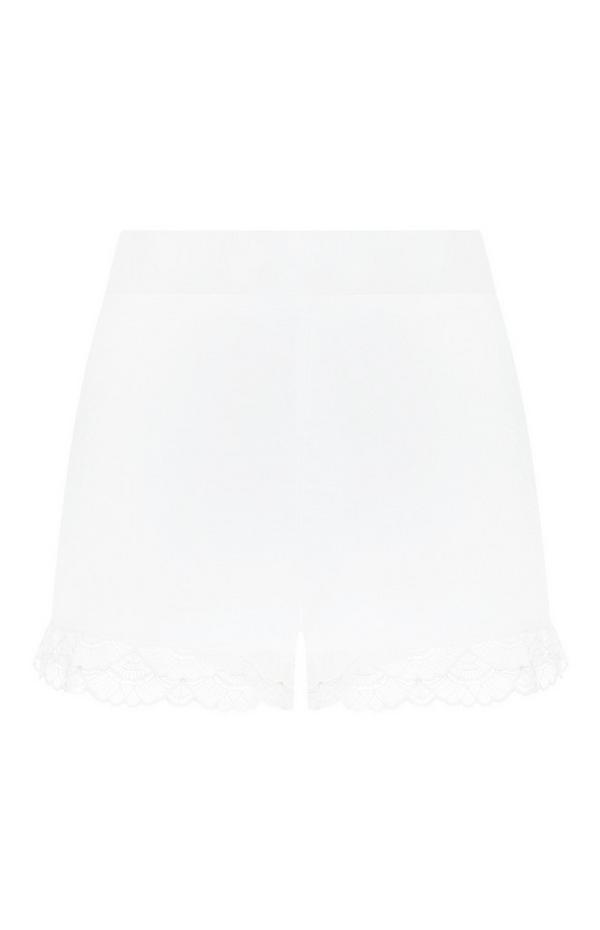Frilly Ivory Satin Shorts
