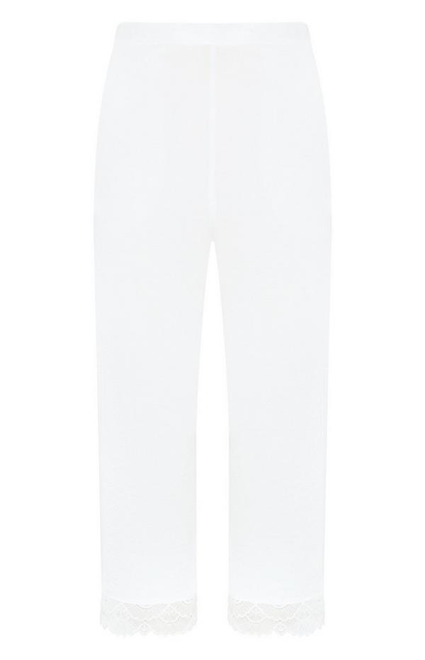 Pantalones de satén en color marfil