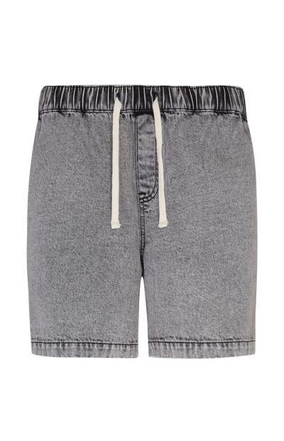 Washed Gray Denim Casual Shorts