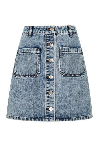 Acid Wash Button Up Denim Mini Skirt