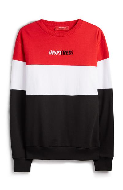Red White Black Color Block Inspired RED Sweater