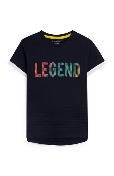 T-shirt bleu marine à message Legend garçon