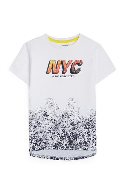 Younger Boy White Ink Splatter Print NYC Slogan T-Shirt