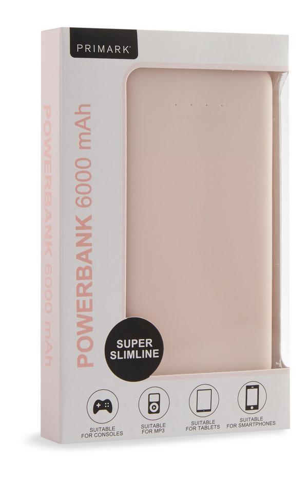 Light Pink Super Slimline 6000mAh Powerbank