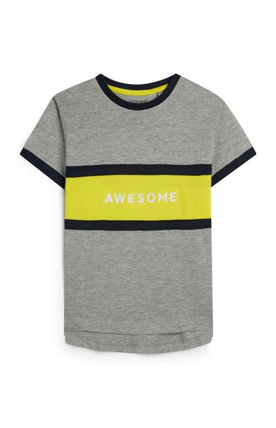 Younger Boy Grey And Yellow Awesome Slogan T-Shirt