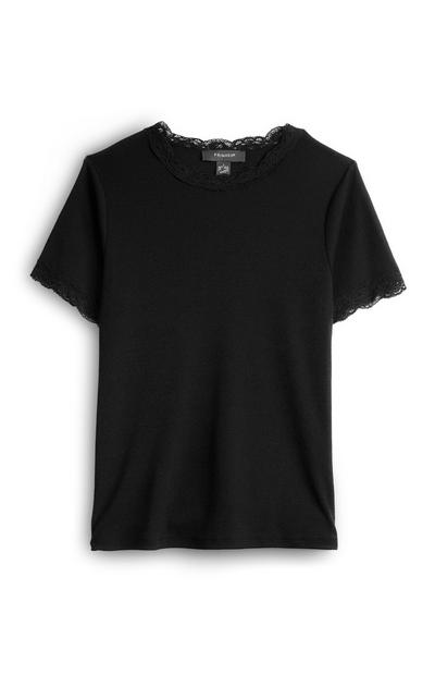Black Lace Trim Short Sleeve T-Shirt