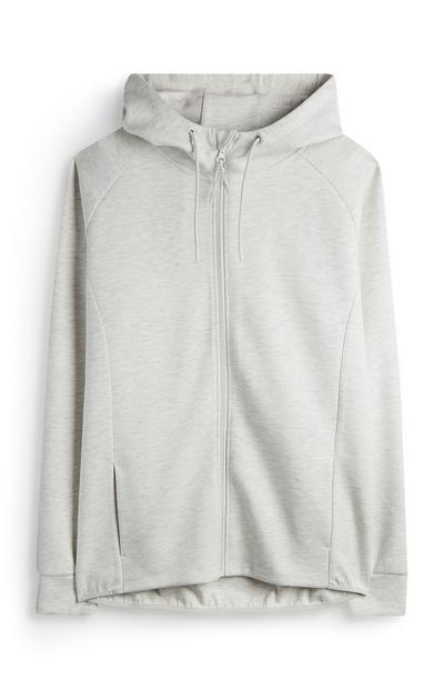 Sweat à capuche écru zippé