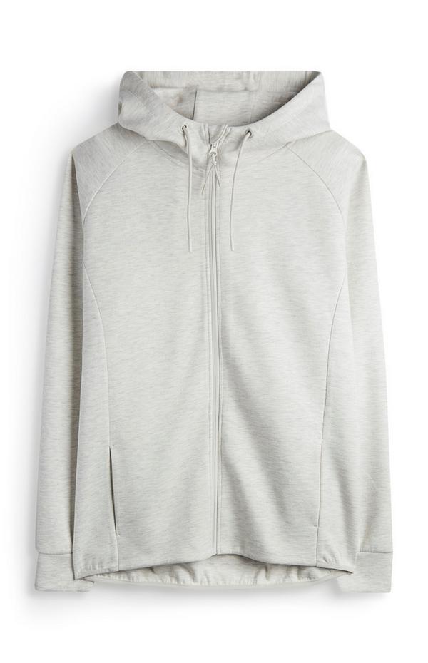 Ecru hoodie met rits