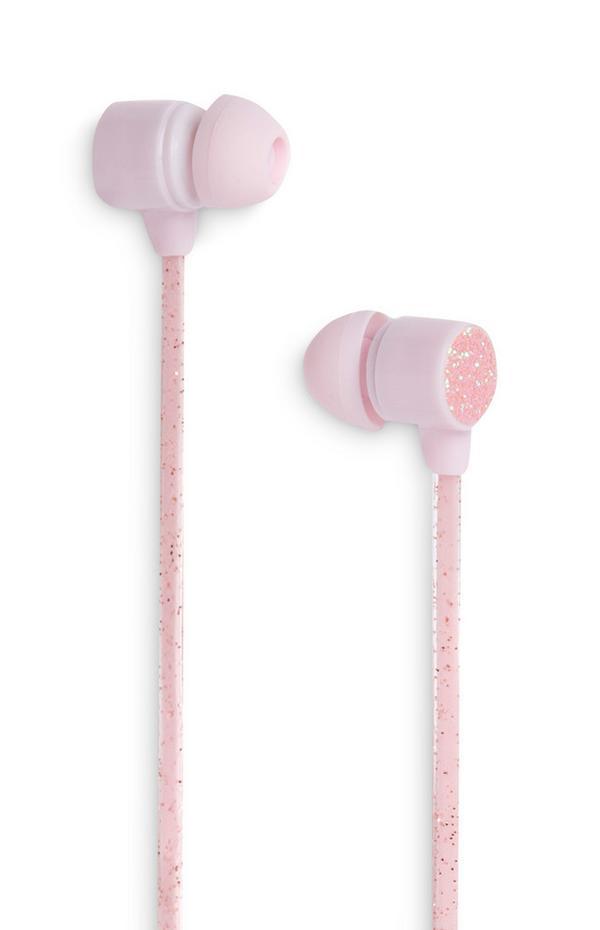 Pink Glittery Earphones