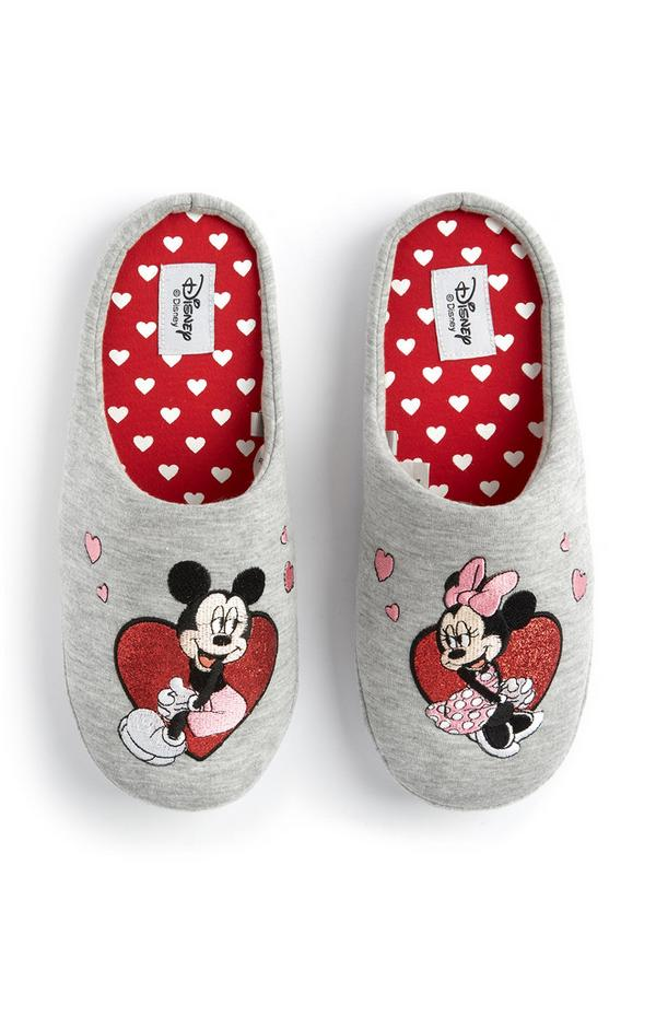Minnie And Mickey Mouse Grey Heart Slippers