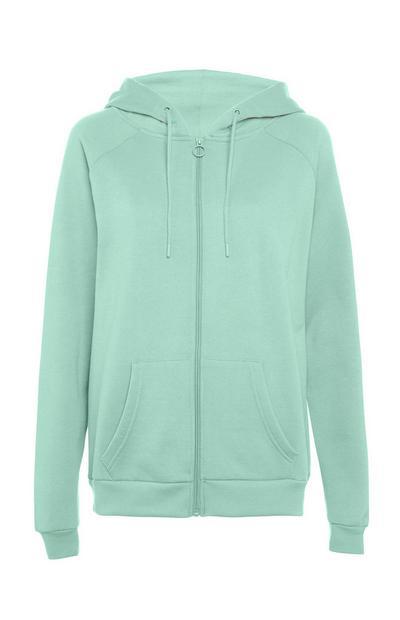 Metino zelen pulover s kapuco in zadrgo