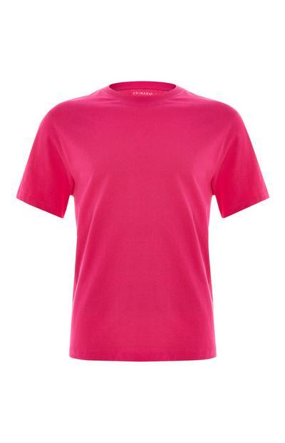 T-shirt corte largo orgânica cor-de-rosa