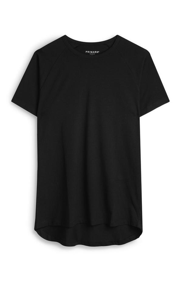 Schwarzes Bio-T-Shirt mit geradem Schnitt