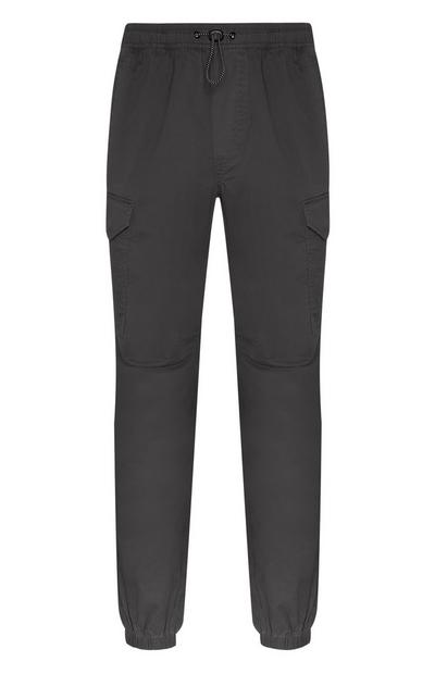 Grey Lightweight Cuff Cargo Trousers