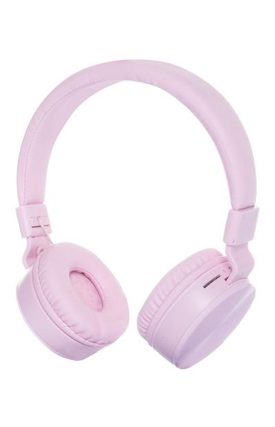 Casque audio rose rechargeable sans fil