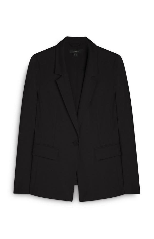 Black Ponte Buttoned Blazer