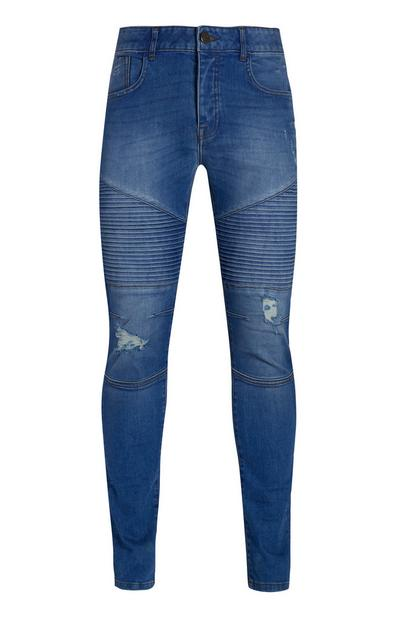 Bright Blue Biker Ripped Jeans