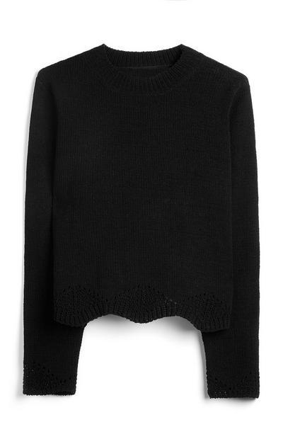 Maglione nero traforato in tessuto riciclato