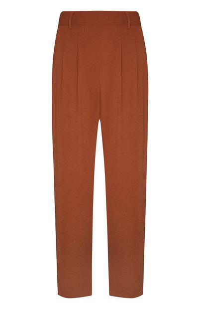Brown Crepe Pull On Peg Leg Trousers