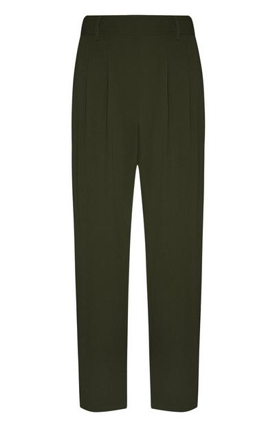 Green Crepe Pull On Peg Leg Trousers