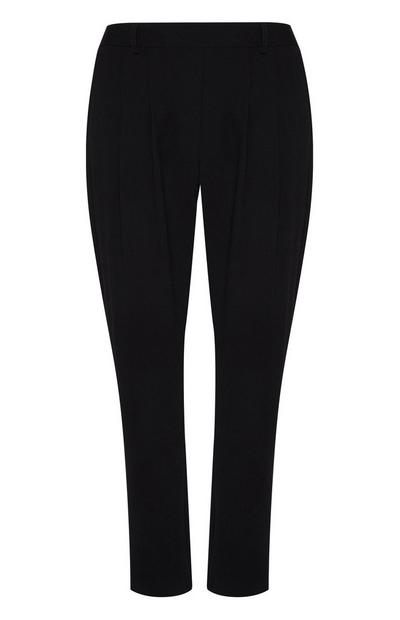 Black Crepe Pull On Peg Trousers