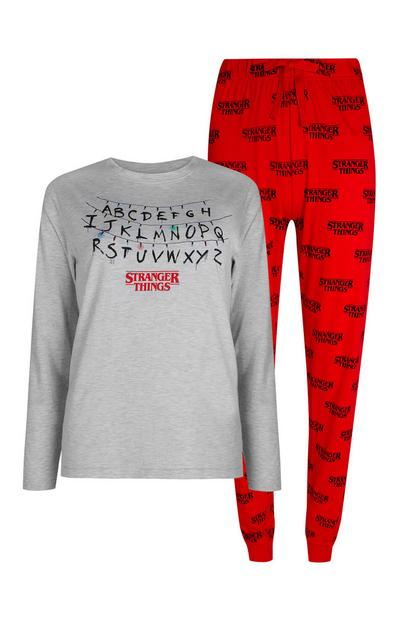 Stranger Things Grey And Red Pyjama Top And Trousers