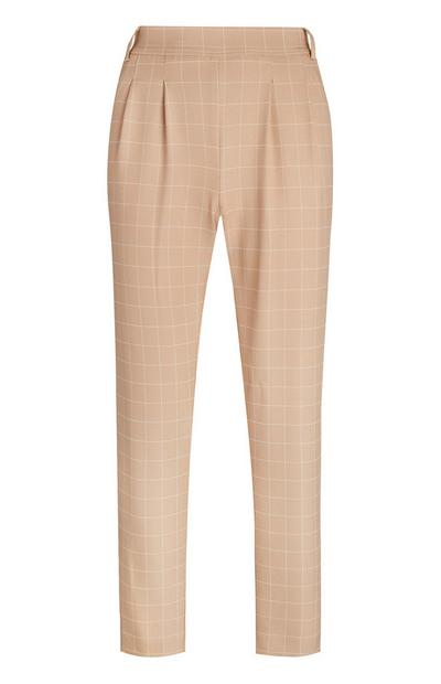 Tan Check Belt Loop Trousers
