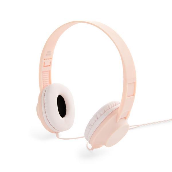 Auscultadores estéreo cor-de-rosa