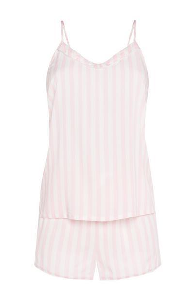 Viscose Candy Stripe Pink Cami PJ Set