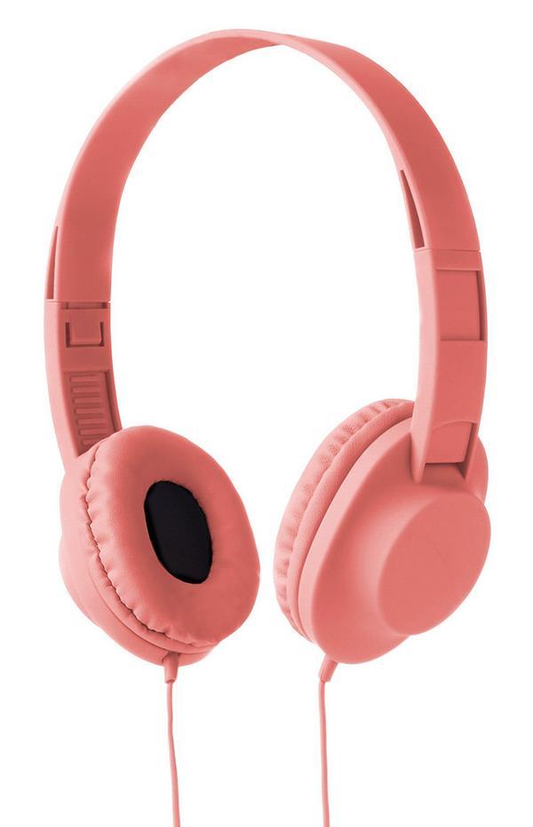 Korallfarbene, kabelgebundene Kopfhörer
