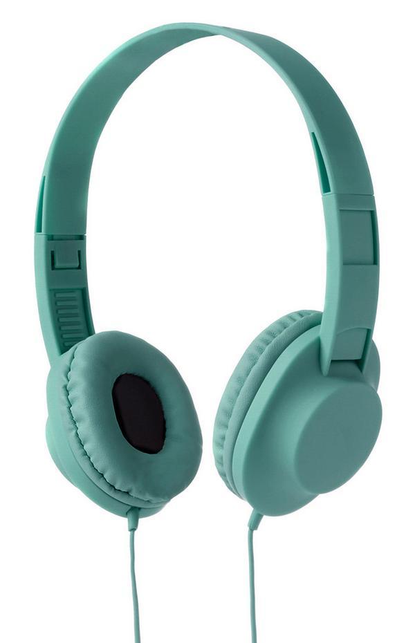 Hellgrüne, kabelgebundene Kopfhörer