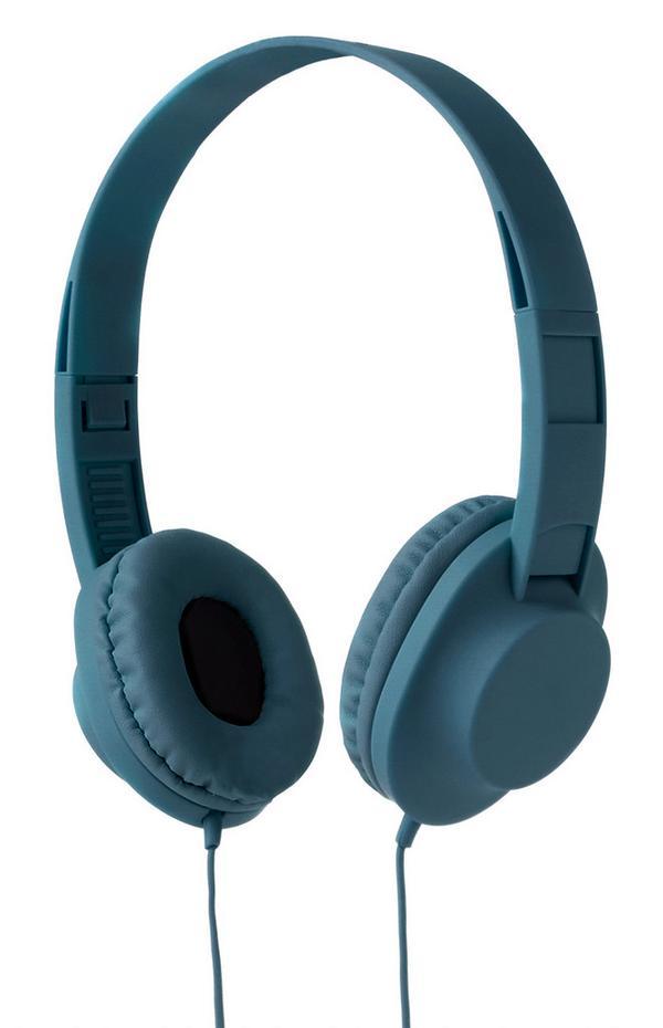 Dunkelgrüne, kabelgebundene Kopfhörer