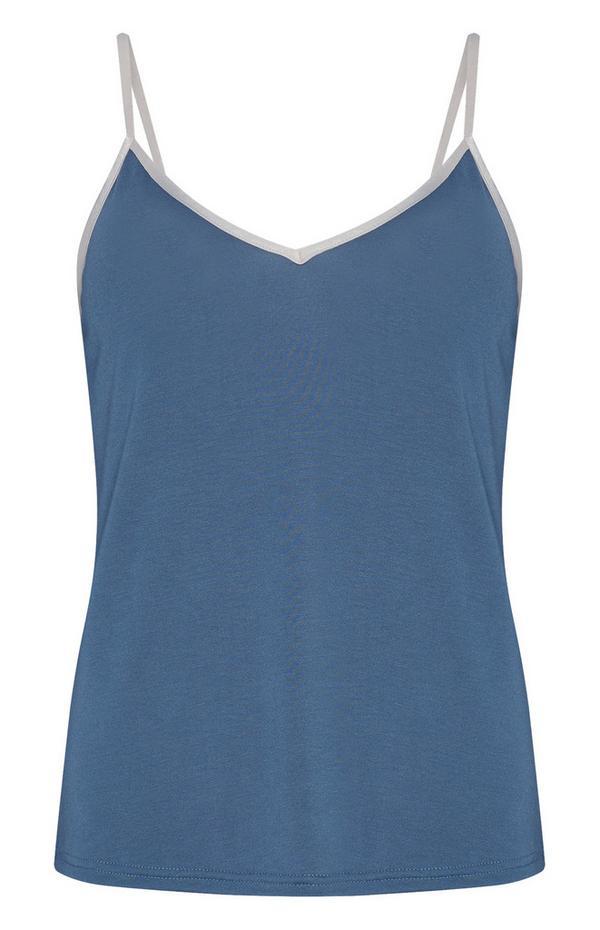 Modra majica iz modala z naramnicami
