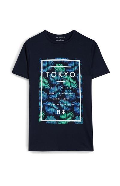 Camiseta negra con estampado de hojas «Tokyo»