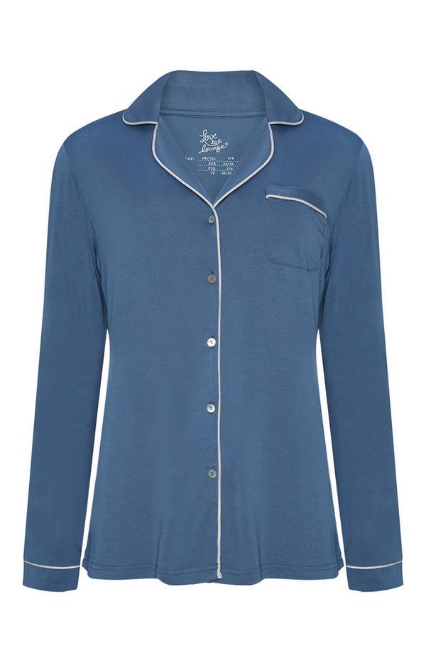 Blaues Modal-Pyjamahemd mit Knopfleiste