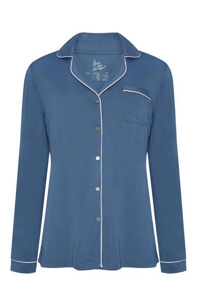 Chemise de pyjama bleue boutonnée en modal