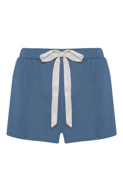 Blauwe modal pyjamashort