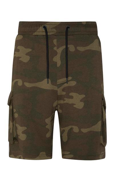 Kratke hlače z žepi na stegnih s kamuflažnim vzorcem v barvi kakija