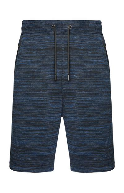 Navy Knitted Textured Shorts