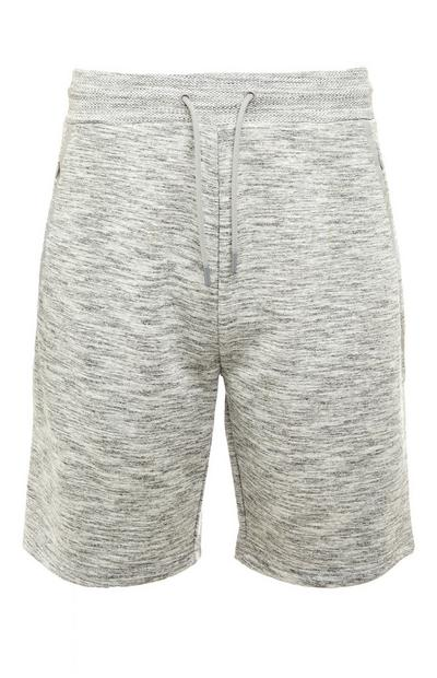 Grey Marl Knitted Texture Tie Waist Sports Shorts