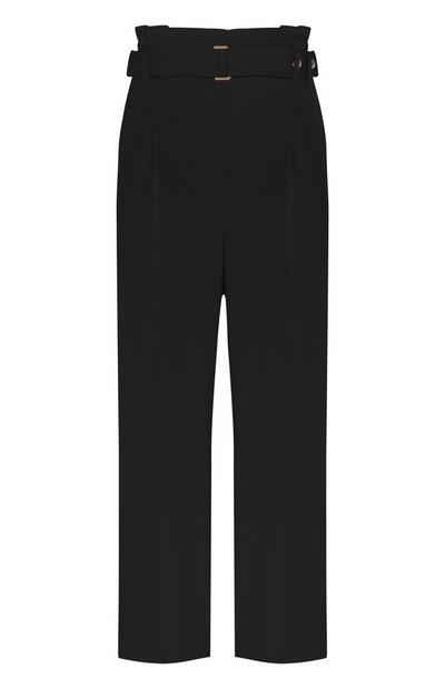 Black Pleated Waist Trousers