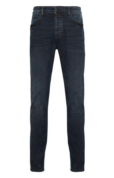 Tintenblaue Jeans in Premium-Qualität mit geradem Bein