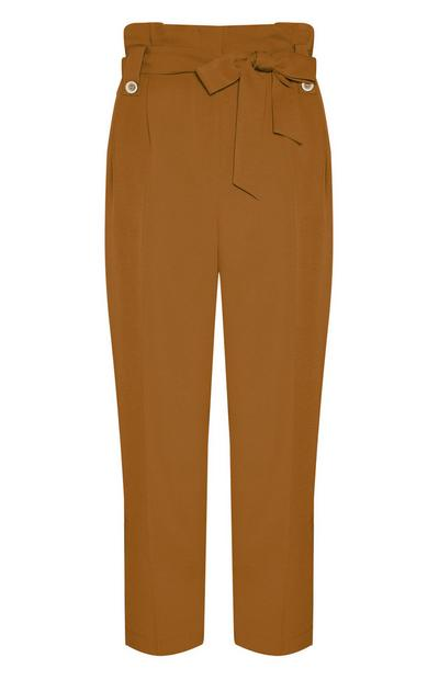 Camel Paperbag Waist Utility Trousers