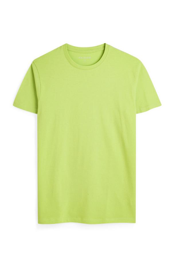 Limettengrünes T-Shirt mit Rundhalsausschnitt