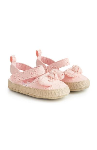 Baby Girl Pink Broderie Espadrilles